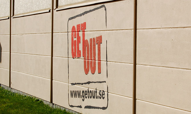 Get Out vägg i Bodafors