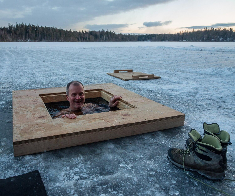 Vakbad i Skärvattnet norr om Immeln