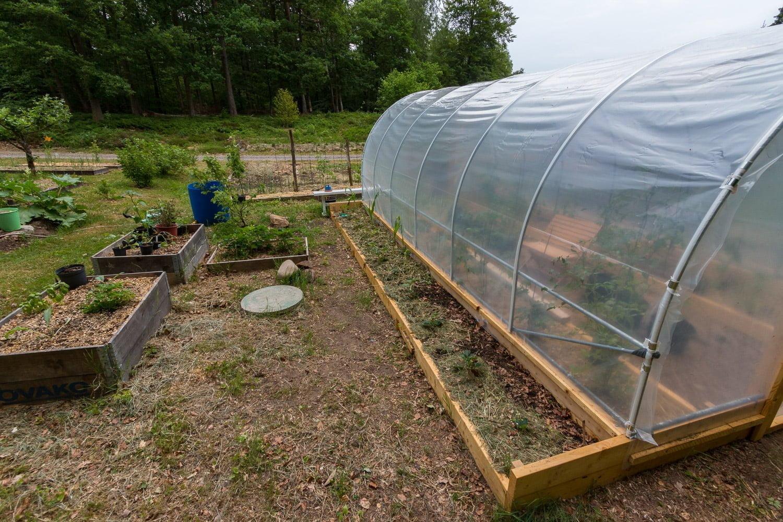 En utvändig odlingsbädd längs varje långsida. I år blir det jordgubbar, majs, kikärtor och bondbönor i de yttre bäddarna