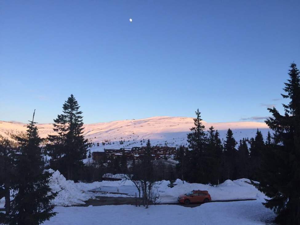 Kvällsljus över fjället och lite måne