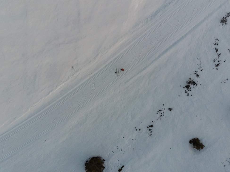 Från ovan. Spårdräll uppe kring Skurufjellet