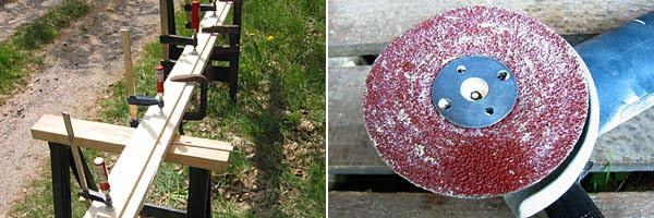 Limning av brädorna | En grov fiberslipskiva i vinkelslipen