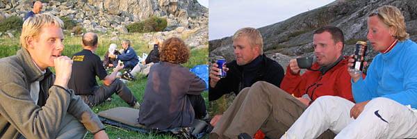 Johan Linder funderar på nån ny fiffig kajaklösning | Patric, Peter och Karin bätttar på Vätskebalansen.