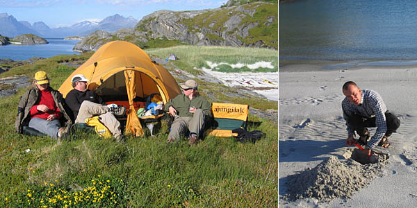 Valspaning från Håkan och Lenas tält   Erik tar de första tagen till sandslottet