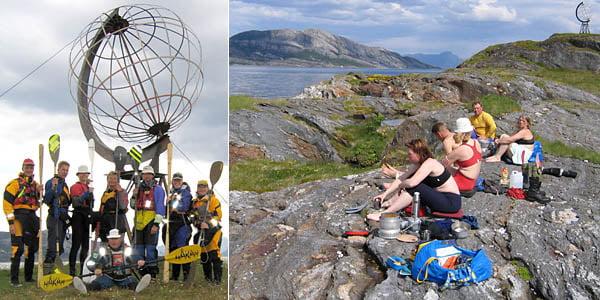 Gruppbild vid Polcirkelmärket på Vikingen   Lunch på Vikingen