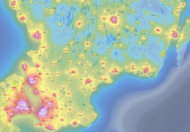 Kart över ljusföroreningar över Skåne med omnejd, snålt med mörka ställen