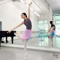 Ballettrock ombré rosa hellblau kakakiri handgenäht