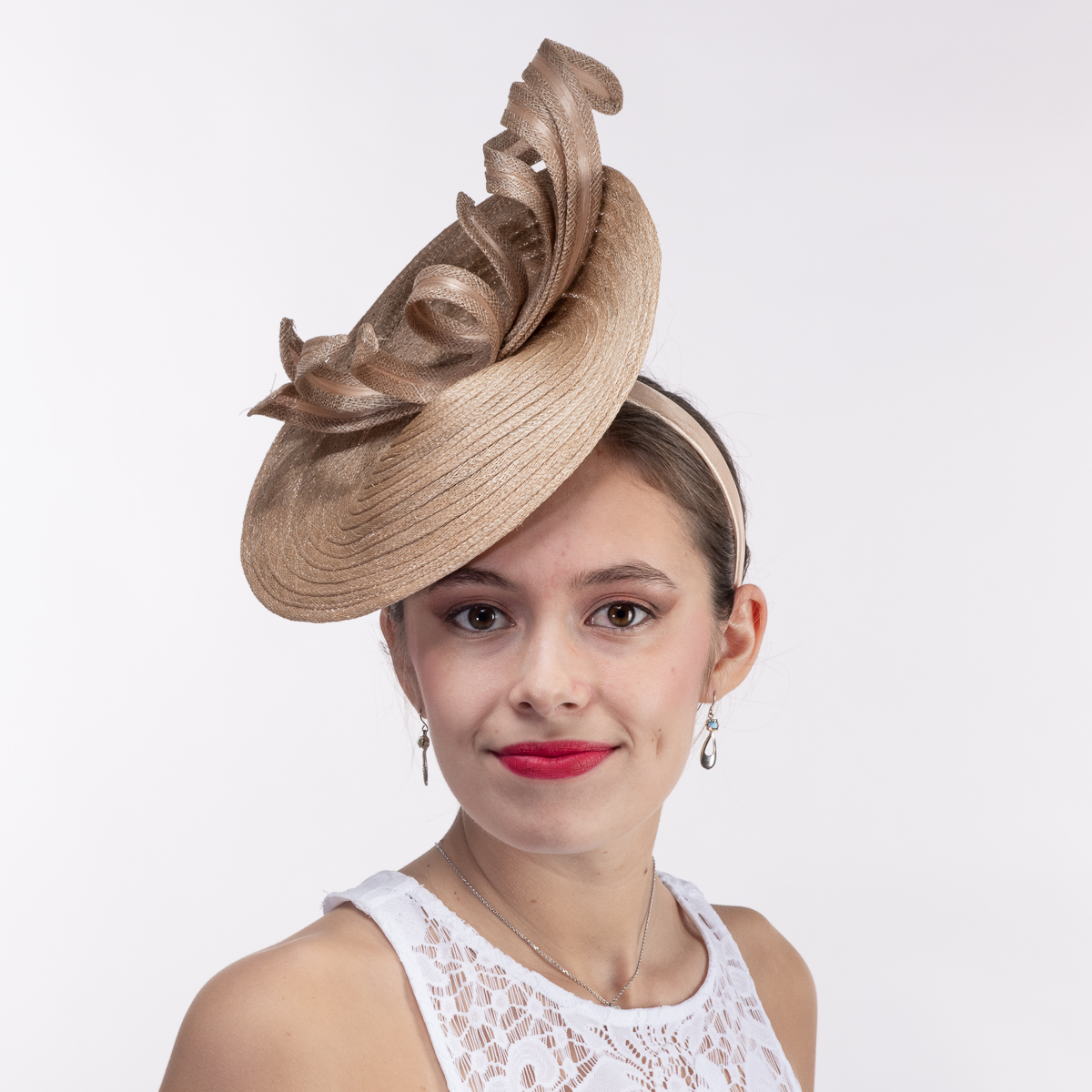 Tan Twist Ribbon Sinamay Braid Disc Headband Fascinator