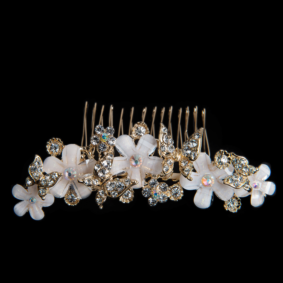 Gold Rhinestone Butterfly And Flower Hair Comb AS8140 Sun