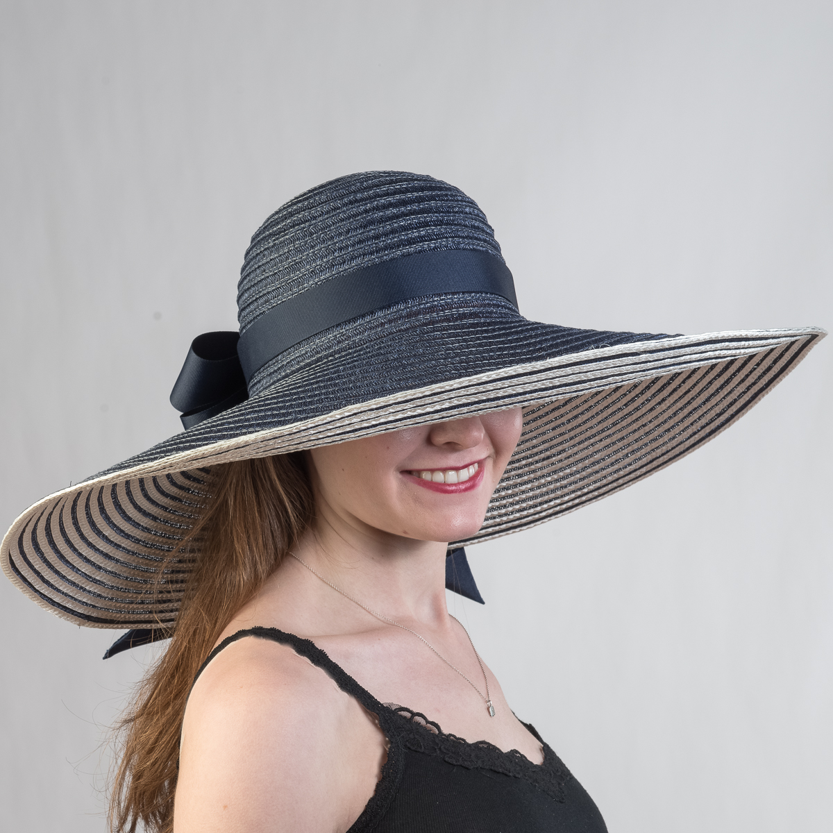 Navy Ivory Large Reversible Poly Straw Sun Hat BBC131S NVY