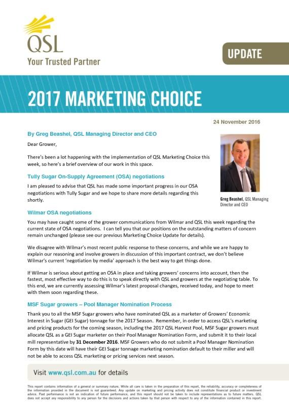 thumbnail of QSL Marketing Choice Update – 24 November 2016