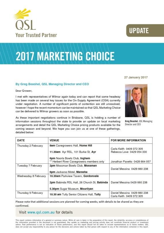 thumbnail of Marketing Choice Update – 27 January 2017