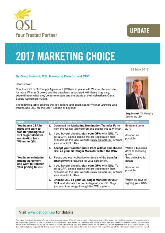 thumbnail of Marketing Choice Update – 26 May 2017