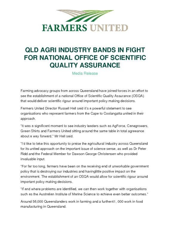 thumbnail of QLD AGRI INDUSTRY BANDS IN FIGHT FOR NATIONAL OFFICE OF SCIENTIFIC QUALITY ASSURANCE