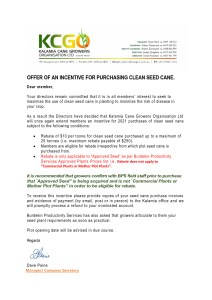 thumbnail of OFFER OF AN INCENTIVE FOR PURCHASING CLEAN SEED CANE.docx 2021 Season.pdf Email to Growers