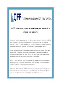 thumbnail of QFF Media Release – advocacy secures cheaper water for more irrigators