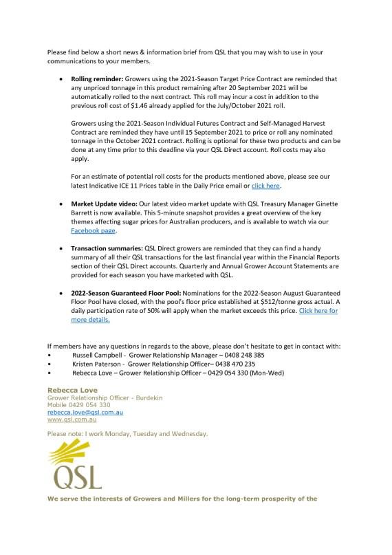 thumbnail of QSL Inforamtion Brief – 6th September 2021