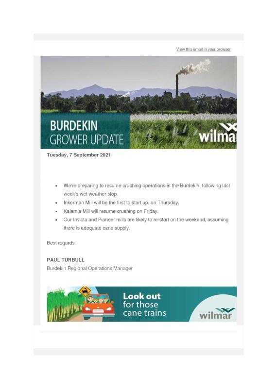 thumbnail of Wilmar Burdekin Grower Update – 7th September 2021