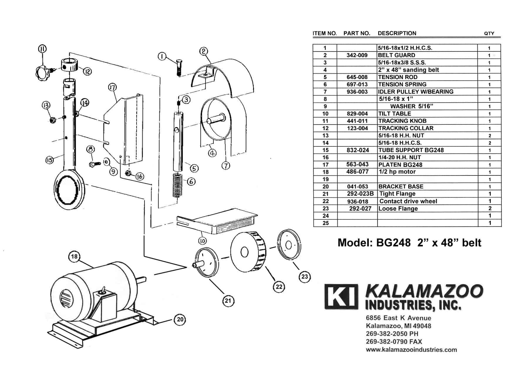 Bg248 2 X 48 Inch Belt Grinder Replacement Part List