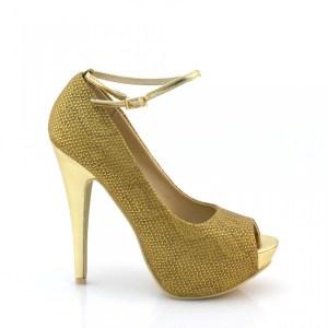 reducere Pantofi dama aurii cu toc inalt, cel mai mic pret