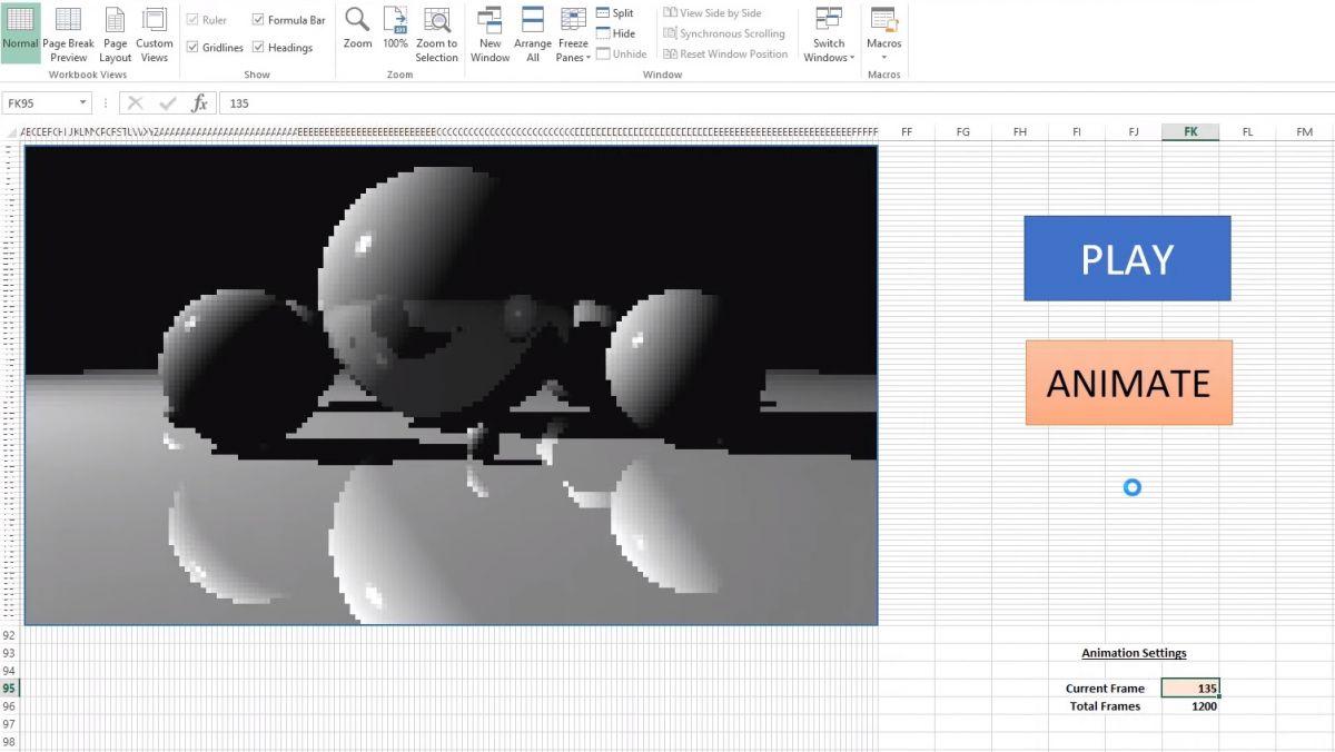 Можете да симулирате трасиране на лъчите в Excel