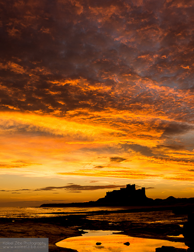 Pre-dawn over Bamburgh Castle, Northumberland