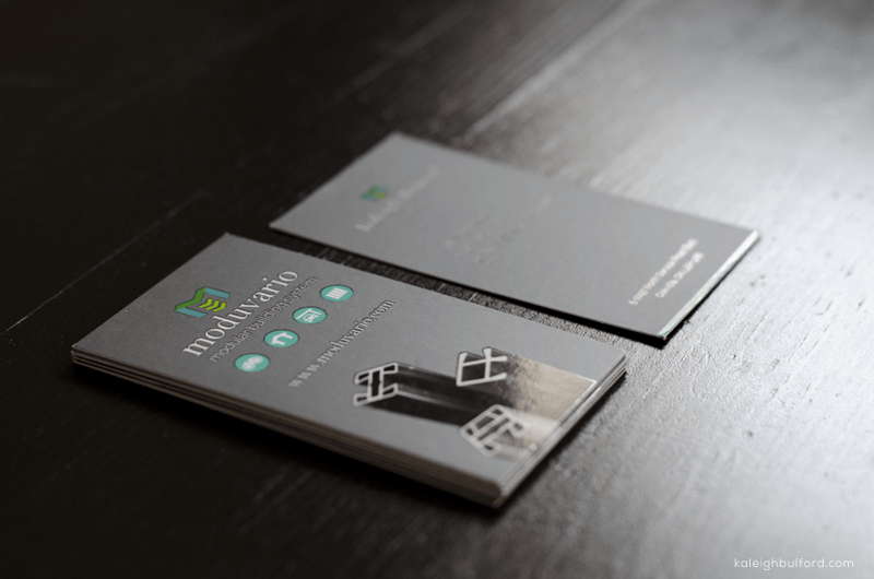 Moduvario Business Cards, featuring spot UV gloss, by Kaleigh Bulford