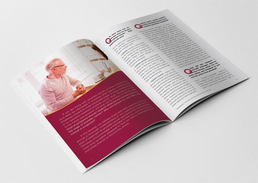 A mockup of a prostate cancer patient brochure by Kaleigh Bulford.