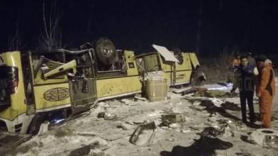 تصویر یک حادثه دیگر؛ واژگونی اتوبوس اردبیل- تهران سه کشته برجای گذاشت