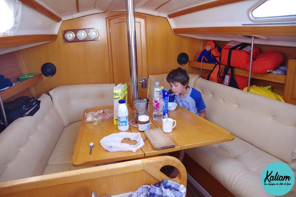 petit déjeuner dans notre bateau