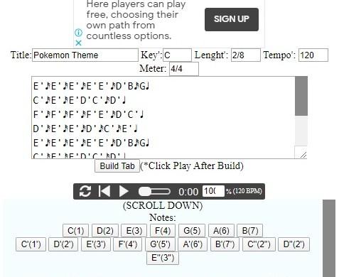 Online Kalimba Tab Notation Maker(New Update)