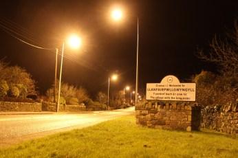 Longest Name Ever Llanfairpwllgwyngyll by night