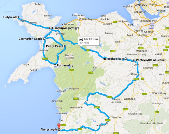 North Wales Highlights: Holyhead, Llanfairpwllgwyngyll, Caernarfon, Snowdon, Pontcysyllte Aqueduct, Aberystwyth on Google Maps