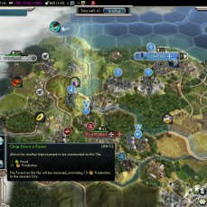 Civilization 5 Into the Renaissance France Deity Chopping Forest to bombard