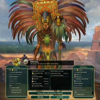 Civilization 5 Conquest of the New World Aztecs Deity 3b - Peace with Mayans