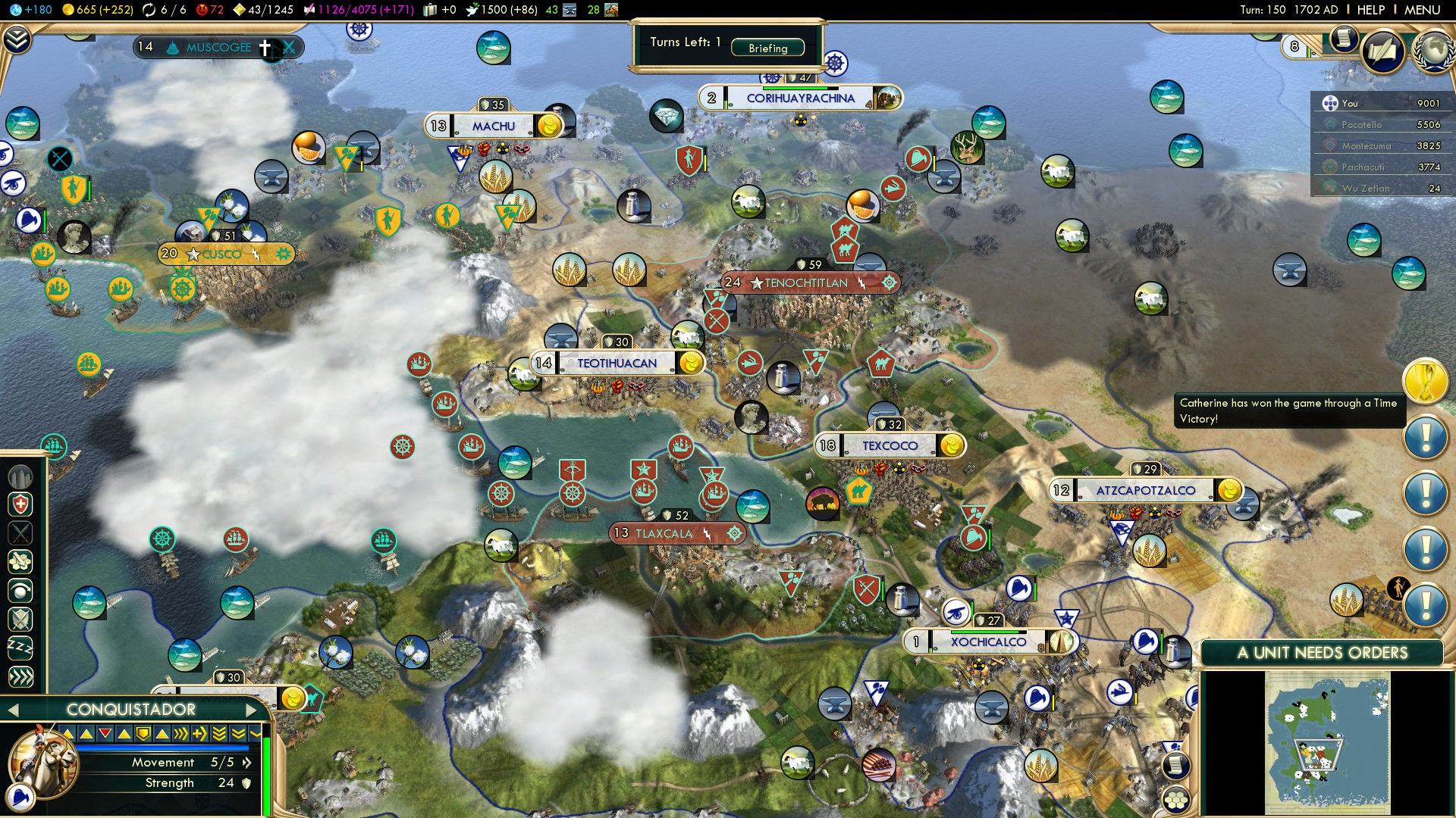 Civilization 5 Conquest of the New World Portugal Deity - South America 2