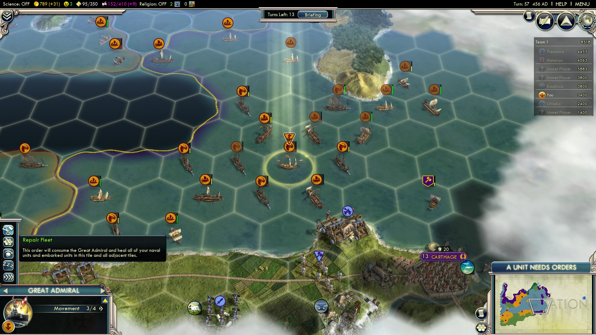 Civilization 5 Fall of Rome Vandals Deity - Use one of the Great Admirals
