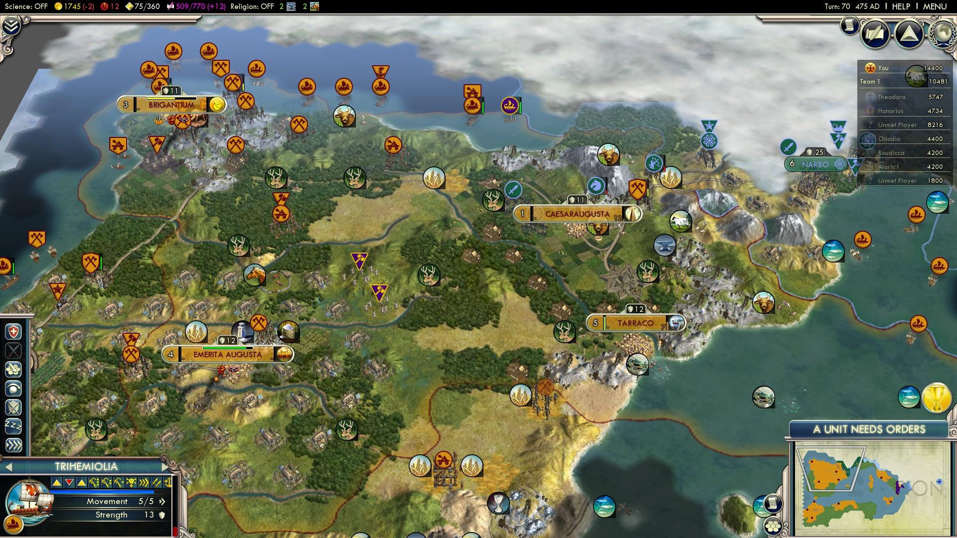 Civilization 5 Fall of Rome Vandals Deity - Spain