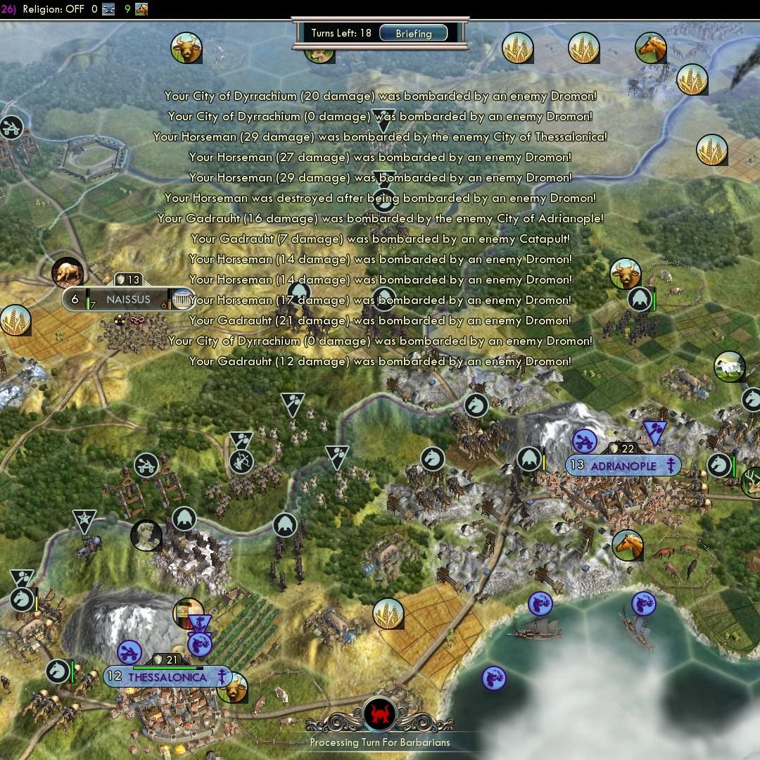 Civilization 5 Fall of Rome Goths Deity - Heavy Dromon fire