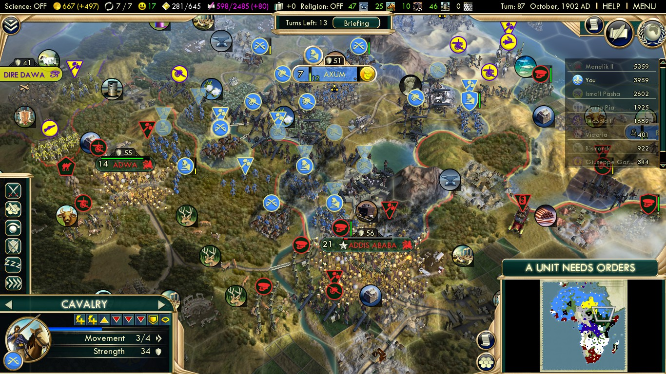 Civilization 5 Scramble for Africa France Deity - March vs Ethiopia