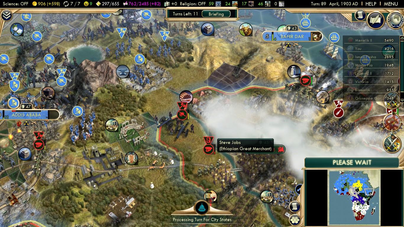 Civilization 5 Scramble for Africa France Deity - Merchant named Steve Jobs