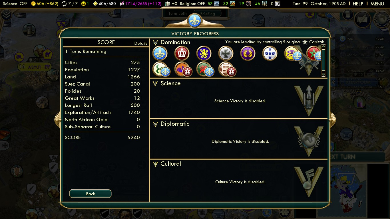 Civilization 5 Scramble for Africa France Deity - Control 5 capitals