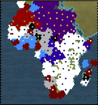 Civilization 5 Scramble for Africa Portugal Deity - Map at turn 100