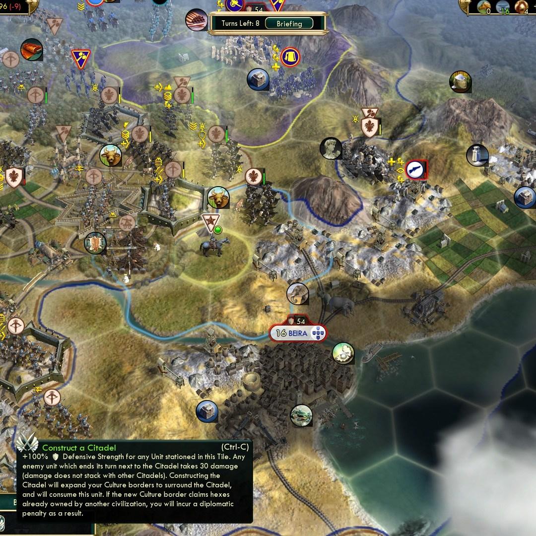 Civilization 5 Scramble for Africa Zulu Deity - Citadels 5 and 6