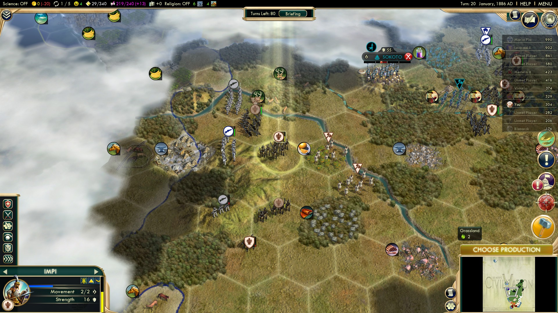 Civilization 5 Scramble for Africa Zulu Deity - Attempt3 Hunting settlers in the North