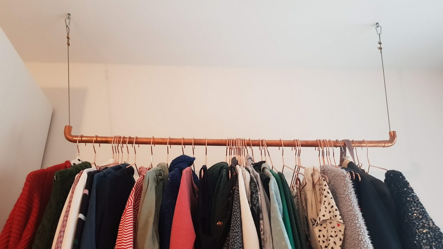 DIY Wardrobe rail copper - super simple!