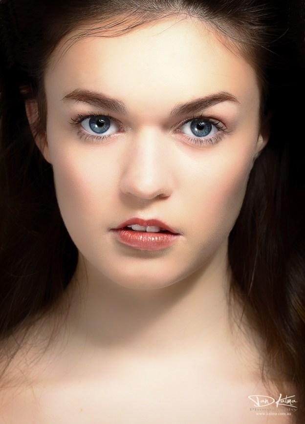 Chloe Tooker model headshot high key stunning gaze dan kalma photography sydney new south wales australia
