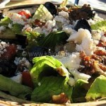 Greek Salad With Roasted Garlic-Tomato Dressing