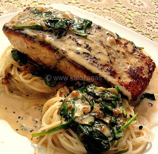 Seared Salmon on Baby Spinach