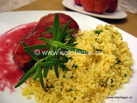 Pomegranate Glazed Chicken With Mastiha-scented Couscous
